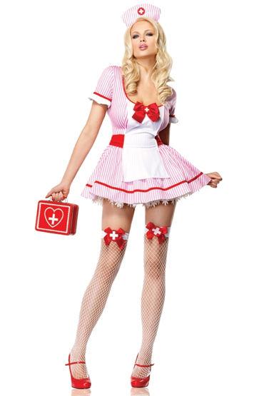 Leg Avenue чулки, белые Для костюма медсестры