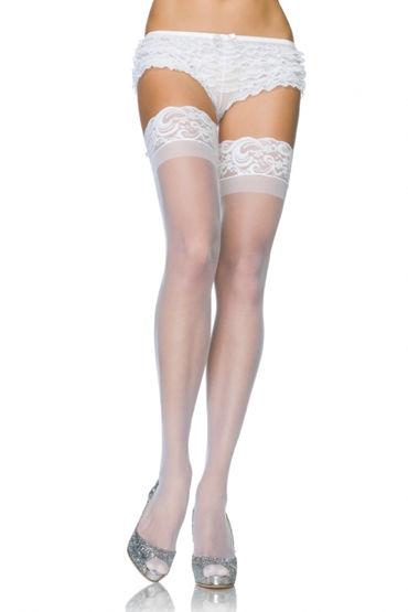Leg Avenue чулки, белые Сплошной фактуры