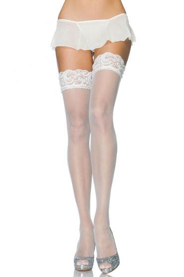 Leg Avenue чулки, белые С бисером на кружевной резинке