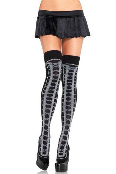 Leg Avenue чулки, черно-розовые С имитацией корсетной шнуровки