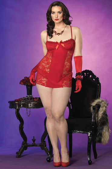 Leg Avenue мини-платье и трусики С ажурными вставками и милым бантиком