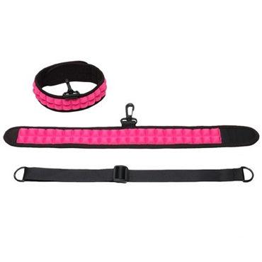 PicoBong Speak No Evil Choker, черно-розовый, Ошейник с поводком-петлей и карабином