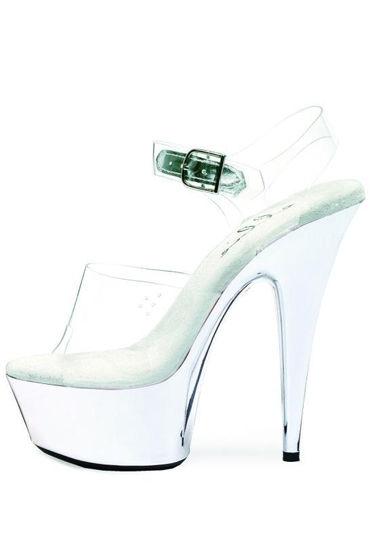 Ellie Shoes Chrome, прозрачный Элегантные босоножки на каблуке 15 см