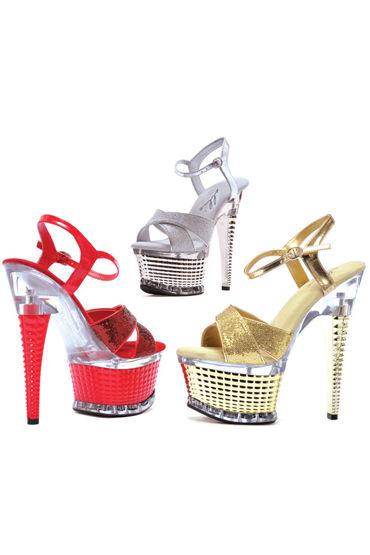 Ellie Shoes Disco, серебристый Роскошные босоножки, каблук 15 см