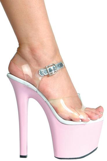 Ellie Shoes Flirt, прозрачный На розовой платформе с каблуком 17,5 см