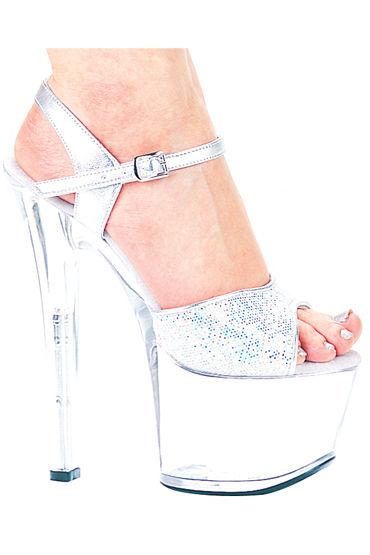 Ellie Shoes Flirt, серебристый На прозрачной платформе с каблуком 18 см