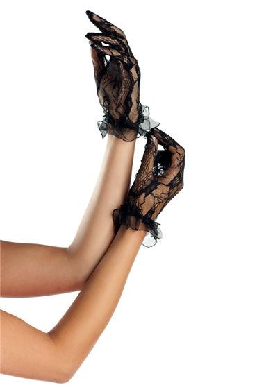 Bewicked перчатки, черные С цветочным орнаментом