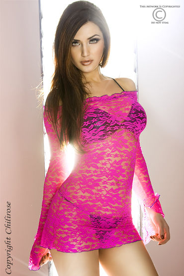 ChiliRose мини-платье, розовое, С длинными рукавами - Размер S