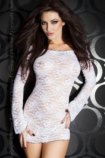 ChiliRose мини-платье, белое, С длинными рукавами - Размер M