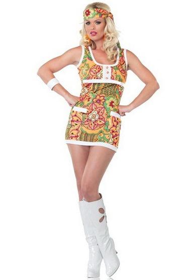 Leg Avenue Far Out Hippie, Яркое мини-платье и повязка на голову - Размер XS от condom-shop.ru