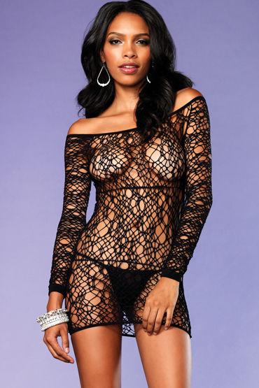 Leg Avenue мини-платье, черное, С длинными рукавами - Размер Универсальный (XS-L)