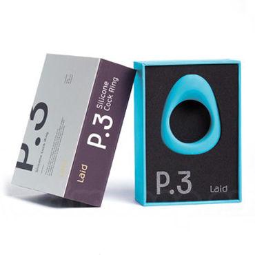 Laid P.3, голубое Эрекционное кольцо на пенис и мошонку