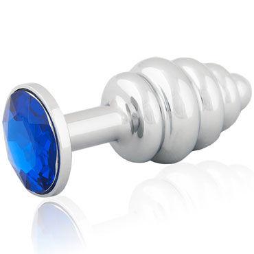 LoveToys Butt Plug Silver, синий Большая анальная пробка, украшена кристаллом