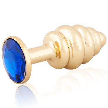 LoveToys Butt Plug Gold, синий Анальная пробка, украшена кристаллом