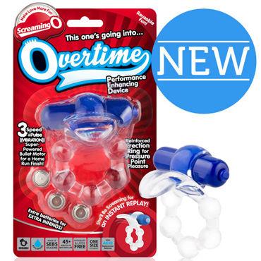 Screaming O Overtime, голубой Виброкольцо с клиторальным стимулятором