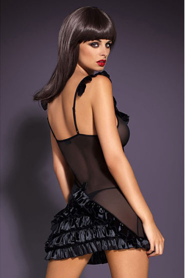 Obsessive Electra Chemise, черное Мини платье с рюшами