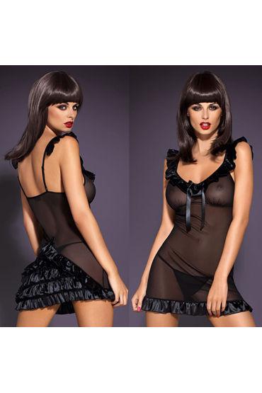 Obsessive Electra Chemise, черное, Мини платье с рюшами - Размер L/XL