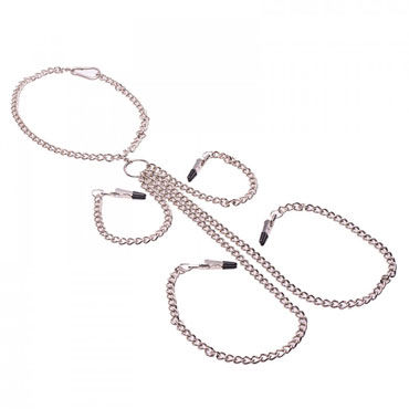 XR Brands Chained Ошейник с зажимами для сосков и половых губ