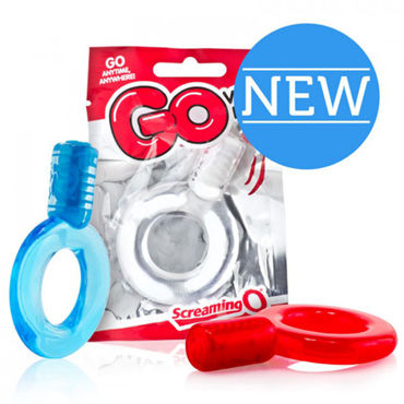 Screaming Go, голубое Эрекционное кольцо с вибрацией