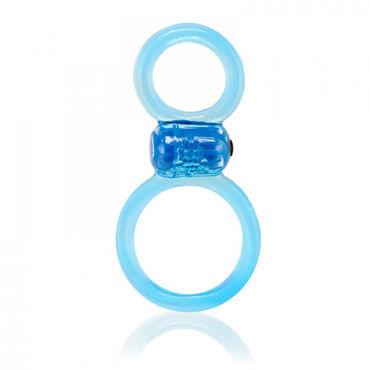 Screaming Ofinity Plus, голубое Эрекционное виброкольцо с петлей для мошонки
