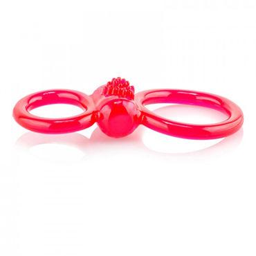 Screaming Ofinity Plus, красное Эрекционное виброкольцо с петлей для мошонки