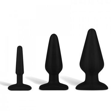 Hustler All About Anal Training Kit, черный Набор анальных плагов из ультра бархатистого силикона
