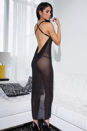 Coquette длинный пеньюар, черный С кружевным лифом и обнаженной спиной