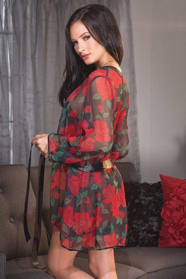 Coquette Халат, черный С красным розами