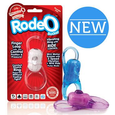 Screaming O RodeO Bucker, голубое Эластичное вибро-кольцо на пенис