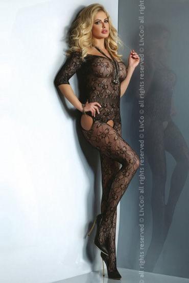 Livia Corsetti Damita, черный Кружевной кэтсьюит с рукавами