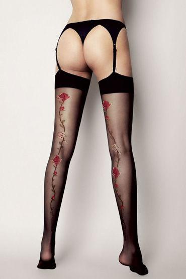 Veneziana Calze Madlen, черные Чулки украшенные цветами