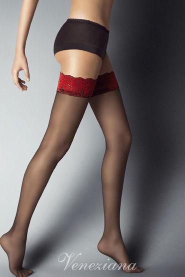 Veneziana Alessandra, черные Чулки с красной резинкой