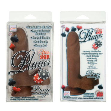 California Exotic Pure Skin Player Dongs, шоколадный Реалистичный фаллоимитатор на присоске