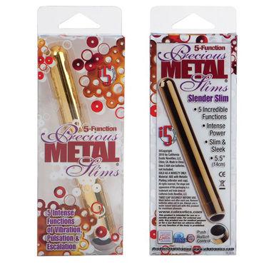 California Exotic Precious Metal Slims, золотой Классический вибратор, 5 функций