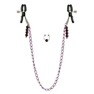 California Exotic Purple Chain with Navel Ring Зажимы для сосков и клипса для пупка
