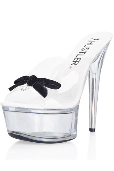 Hustler Black Bow, Сабо на прозрачной платформе, 15 см - Размер 35