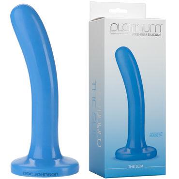 Doc Johnson Platinum Premium Silicone The Slim, синий Фаллоимитатор небольшого диаметра