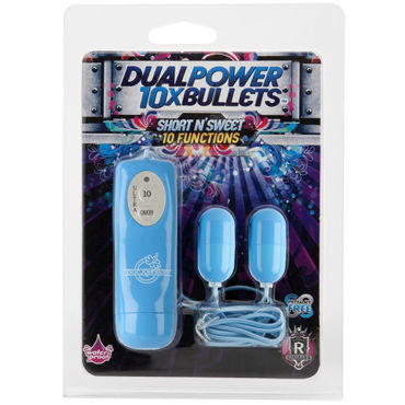 Doc Johnson Short n' Sweet Dual Power Bullets, голубой Два виброяйца с пультом управления