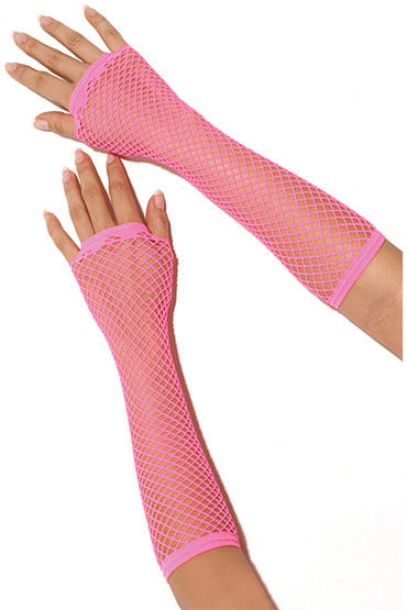 Electric Lingerie перчатки, розовые, Длинные, в сеточку - Размер Универсальный (XS-L)