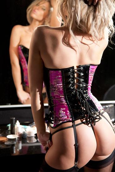 Allure Lingerie Mandy Корсет со вставками цвета фуксии и стринги