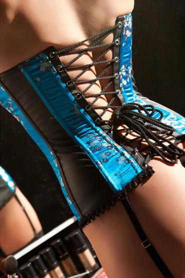 Allure Lingerie Trina Корсет с голубыми вставками и стринги