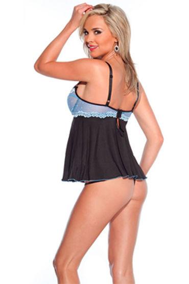 Coquette комплект, черно-голубой Сорочка с кружевным лифом и стринги