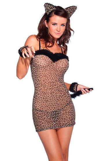 Coquette Леопард, С мягкими ушками и хвостиком - Размер Универсальный (XS-L)