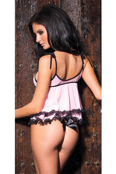 Coquette Pink Kiss Сорочка с кружевной отделкой и стринги