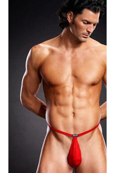 Blue Line pouch V-стринги, красные, В форме мешочка на тонких резиночках - Размер L-XL