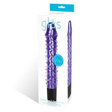 Glas Spiked Punch Фиолетовый вибратор из стекла с точками