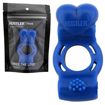 Hustler Twise The Love, синий Кольцо на пенис с дабл-вибрацией