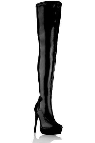 Electric Lingerie Shoes Black Tight Ботфорты из лаковой искусственной кожи