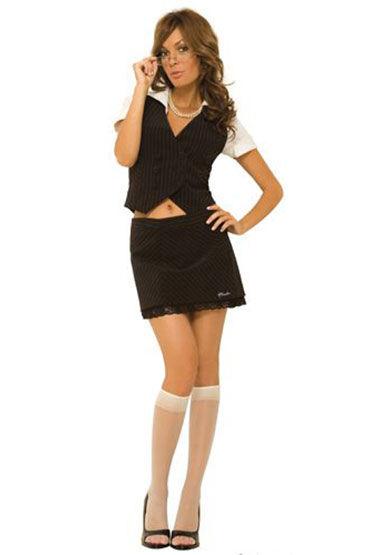 Hustler костюм, Жакет и юбочка в тонкую полосочку - Размер S-M