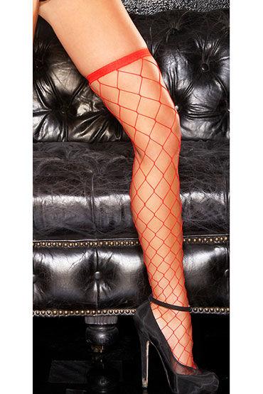 Hustler чулочки, красные, В крупную сетку - Размер Универсальный (XS-L) от condom-shop.ru